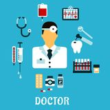 Doctor therapist with medical icons, flat style Stock Images