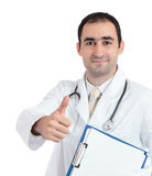 Doctor thumbs up. Happy doctor holding a report and showing thumbs up Royalty Free Stock Photo