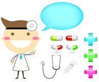 Doctor with tool drug and cross sign Stock Image