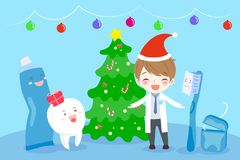 Doctor and tooth. With happy new year on the blue background stock illustration