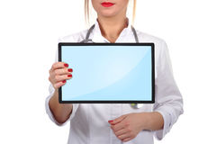 Doctor with touch pad Stock Photos