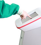 Doctor touch the screen of medical equipment Royalty Free Stock Photography