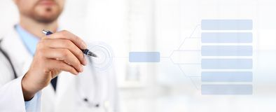 Doctor touch screen with a pen medical health concept. Doctor touch screen with a pen medical health care concept Royalty Free Stock Images