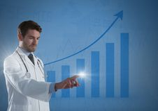 Doctor touching air glow with bar chart rising. Digital composite of Doctor touching air glow with bar chart rising Royalty Free Stock Image