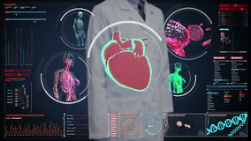 Doctor touching digital screen,  Female body scanning blood vessel, lymphatic, heart, circulatory system in digital display. Dashboard. Blue X-ray view stock footage