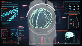 Doctor touching digital screen, Scanning Brain in digital display dashboard. X-ray view. Doctor touching digital screen, Scanning Brain in digital display stock footage