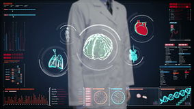 Doctor touching digital screen, Scanning brain, heart, lungs, internal organs in digital display dashboard. X-ray view. stock video
