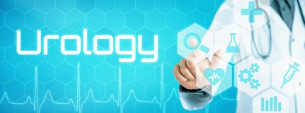 Doctor touching an icon on a futuristic interface - Urology vector illustration