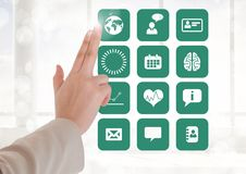 Doctor touching interface screen with medical icons Royalty Free Stock Photos