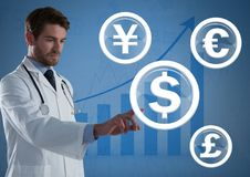 Doctor touching international money currency graphic icons. Digital composite of Doctor touching international money currency graphic icons Stock Photography