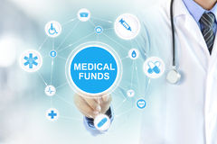 Doctor touching MEDICAL FUNDS sign on virtual screen. Doctor hand touching MEDICAL FUNDS sign on virtual screen Royalty Free Stock Photos
