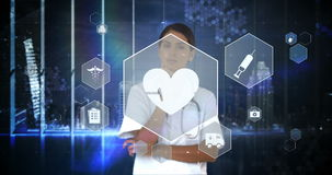 Doctor touching virtual digital interface screen stock footage