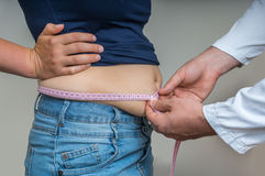 Doctor treats a woman with overweight Stock Photos