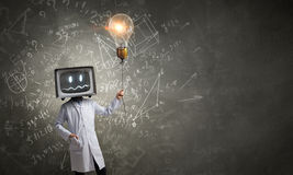 Doctor with TV instead of head . Mixed media . Mixed media Royalty Free Stock Images