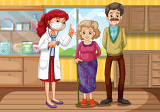 Doctor and two patients in clinic Stock Images