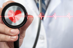 Doctor use stethoscope with heart beat icon stock images