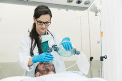 Doctor using the ball resuscitation with a patient. In the hospital Stock Image