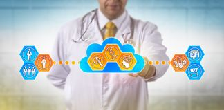 Doctor Using Cloud Based Software For DNA Test. Unrecognizable doctor using cloud based software for faster analysis of genomic information to decide on drug vector illustration