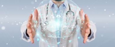 Doctor using digital medical futuristic interface 3D rendering. Doctor on blurred background using digital medical futuristic interface 3D rendering Stock Photography