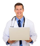 Doctor using laptop Stock Image