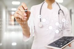 Doctor using modern computer with Medical record diagram on virtual screen concept. Health monitoring application. Doctor using modern computer with Medical royalty free stock photos