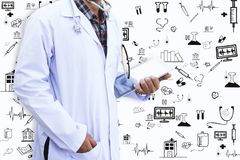 Doctor. Is using tablet and icon royalty free stock photo
