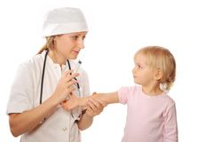 Doctor vaccinate little girl Stock Photo
