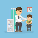 Doctor vaccinates boy. Royalty Free Stock Photography