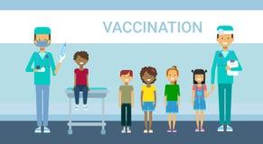 Doctor Vaccination Of Children Illness Prevention Immunization Medical Health Care Hospital Service Medicine Banner. Flat Vector Illustration Stock Images