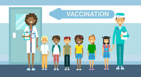 Doctor Vaccination Of Children Illness Prevention Immunization Medical Health Care Hospital Service Medicine Banner. Flat Vector Illustration royalty free illustration