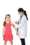 Doctor vaccine girl hand. Doctor woman vaccine girl hand isolated on white background royalty free stock photo