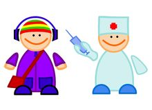 Doctor with vaccine and guy Stock Images