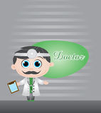Doctor vector illustration. On stipe grey background Royalty Free Stock Images