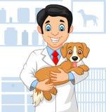 Doctor veterinario de la historieta que examina un perrito stock de ilustración