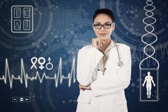 Doctor and virtual medical background Stock Photography