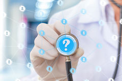 Doctor virtual network to answer questions. Doctor virtual network to answer questions concept royalty free stock images