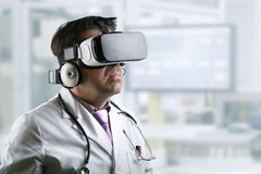 Doctor with virtual reality glasses stock images