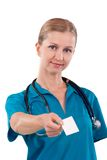 Doctor with visiting card Stock Image