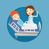 Doctor visiting patient vector illustration. Royalty Free Stock Photo