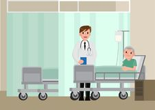 A doctor visits a patient lying on hospital bed. Senior man resting In a Bed. Royalty Free Stock Photography