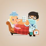 Doctor Visits a Sick Woman Stock Images