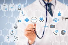 Doctor Visual Screen with Stethoscope on Medical Icons Royalty Free Stock Photos