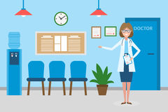 Doctor in waiting room. Royalty Free Stock Images