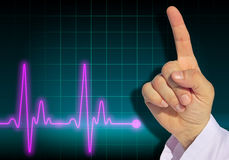Doctor warning finger with heart rate monitor Stock Image