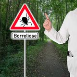 Borreliosis, Doctor warns with raised index finger Stock Photos
