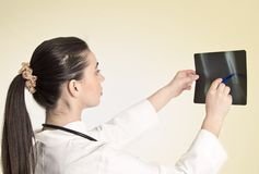 Doctor watching a patient x-ray Stock Photography