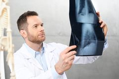 Doctor is watching an X-ray. A doctor in a doctor`s office royalty free stock images