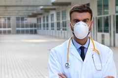 Doctor wearing breathing mask in the hospital