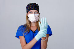 Doctor Wearing a Mask and Gloves Royalty Free Stock Photography