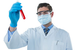 Doctor wearing protective glasses and surgical mask holding a test tube Royalty Free Stock Photography
